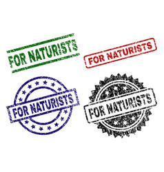 Scratched textured for naturists stamp seals vector