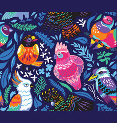 Seamless pattern with exotic australian birds and vector