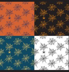 Set 4 seamless patterns with cobweb vector