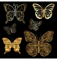 Set golden butterflies vector