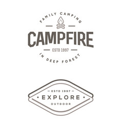 set of camp logo with campfire explore wilderness vector image