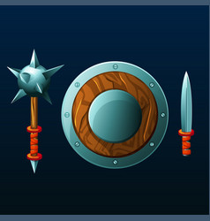 Set of items for game shield mace and knife vector