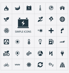 set of simple energy icons vector image