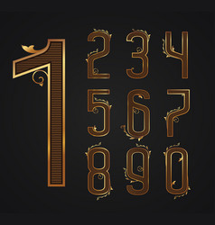 Set of vintage digits from 0 to 9 vector
