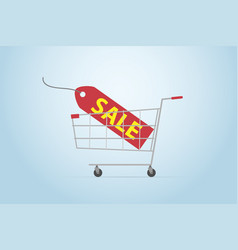 shopping cart with sale label flat design vector image