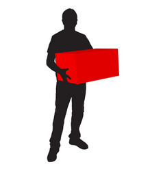Silhouette of deliveryman carrying a box on white vector