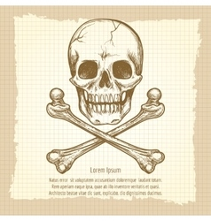 Skull crossbones and place for text vector image