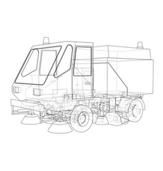 Small street clean truck concept vector