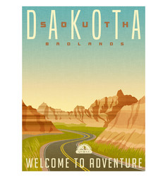 south dakota badlands national park vector image