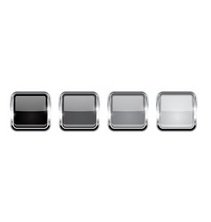 square buttons gray glass 3d icons with metal vector image
