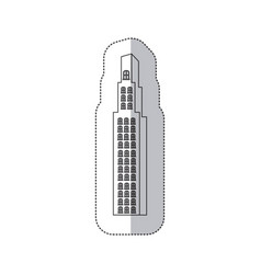 Sticker monochrome contour with building vector