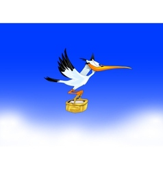 stork carrying a child to parents vector image