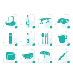 Stylized picnic and holiday icons vector