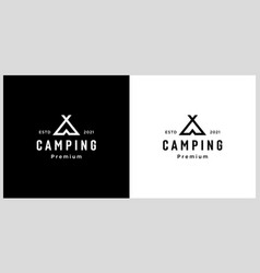 tent camping logo line style vector image
