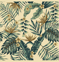 tropical leaves and gold flowers seamless beige vector image
