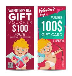 Valentine s day voucher template vertical vector