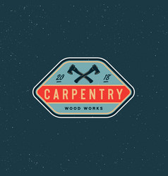 vintage carpentry logo retro styled wood works vector image