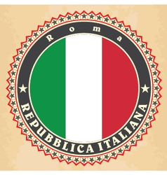 Vintage label cards of Italy flag vector image