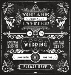 Vintage wedding invitation vector