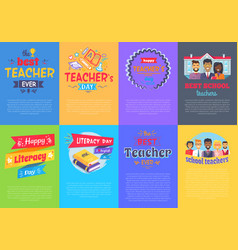 Vivid posters on school theme vector
