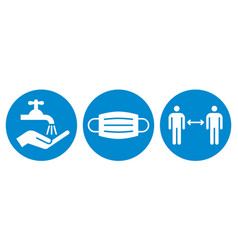 wash hands protective mask and social distance vector image