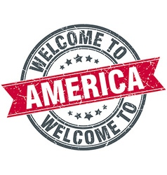 Welcome to america red round vintage stamp vector