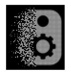 White disintegrating pixel halftone gear tag icon vector