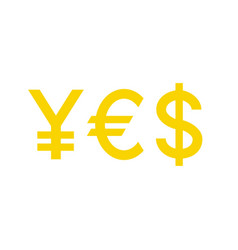 Word yes with currency symbols yen euro dollar vector
