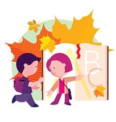 boy and girl going to school the first day vector image vector image