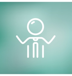 Businessman raising his arms thin line icon vector image