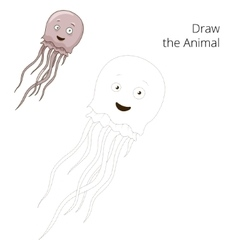 Draw the jellyfish educational game vector image vector image