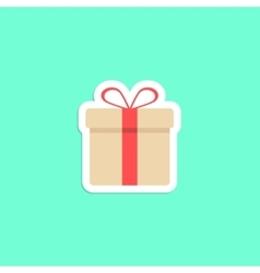 gift box icon sticker isolated on green background vector image