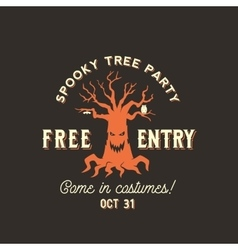 Halloween Spooky Tree Silhouette Label vector image