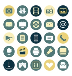 icons plain round media vector image vector image