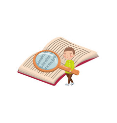 little boy reading a book with a magnifying glass vector image vector image