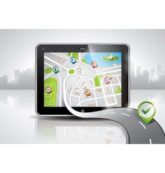 map with shiny pda device vector image