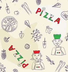 Pizza seamless pattern - hand drawn vector image vector image