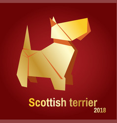 a golden origami dog terrier vector image vector image