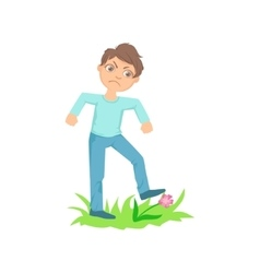Boy Walking On Lawn Grass Breaking Flowers Teenage vector image vector image
