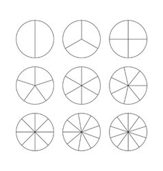 Circle segments set Black thin outline vector image vector image
