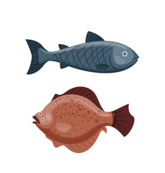 cute fish cartoon funny swimming graphic animal vector image vector image