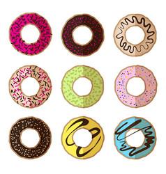 donut minimalistic flat set vector image vector image