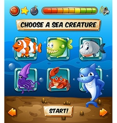 Game template with fish in the sea vector image