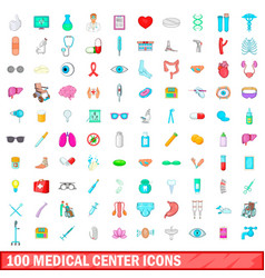 100 medical center icons set cartoon style vector image vector image
