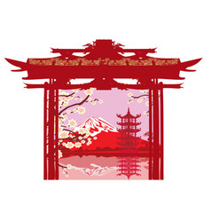 card with asian landscape vector image