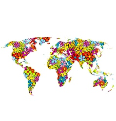 Floral world map vector image vector image