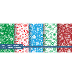 pattern seamless snowflake set vector image