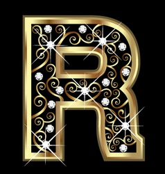 R gold letter with swirly ornaments vector image vector image