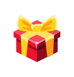 Red Gift Box With Yellow Bow With Present vector image vector image