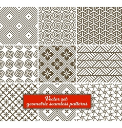 set 9 geometric seamless patterns vector image vector image